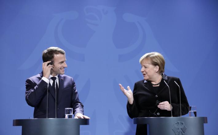 Macron in Merkel   Vir:Pixell