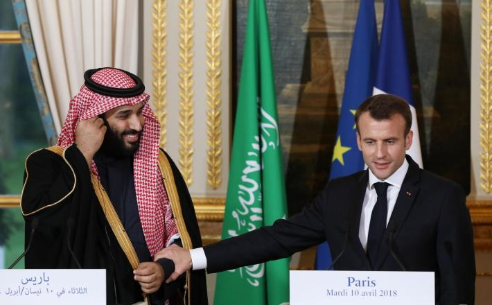 Emmanuel Macron in Mohamed bin Salman, Pariz, april 2018  Vir:Pixell