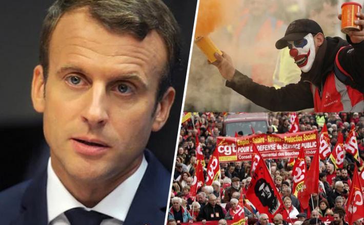 Macron in protestniki