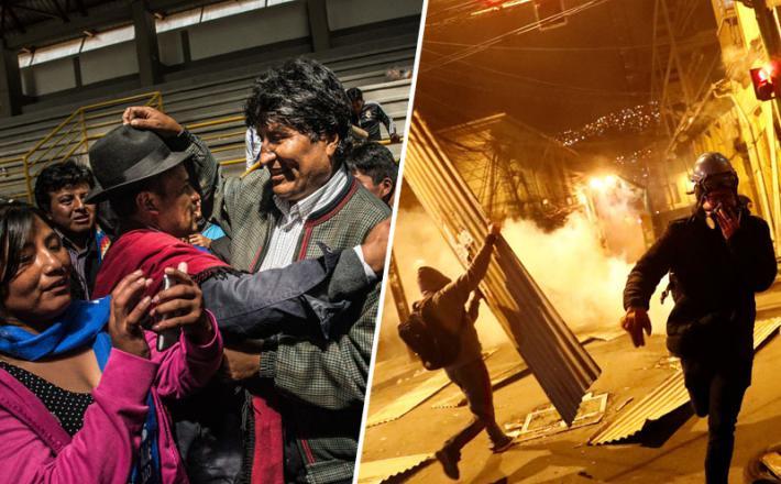 Evo Morales in protestniki