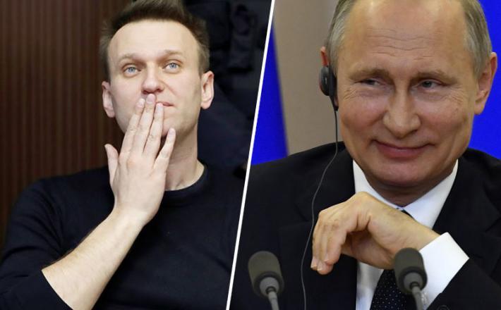 Aleksej Navalni in Vladimir Putin. Vir: Twitter