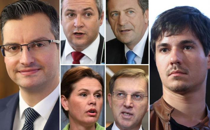 Marjan Šarec, Dejan Židan, Karl Erjavec, Alenka Bratušek, Miro Cerar, Luka Mesec