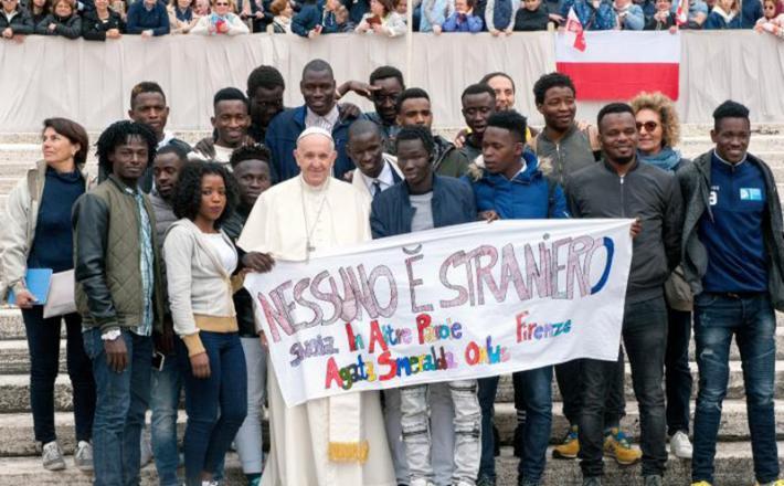 Papež in migranti Vir: Pixell