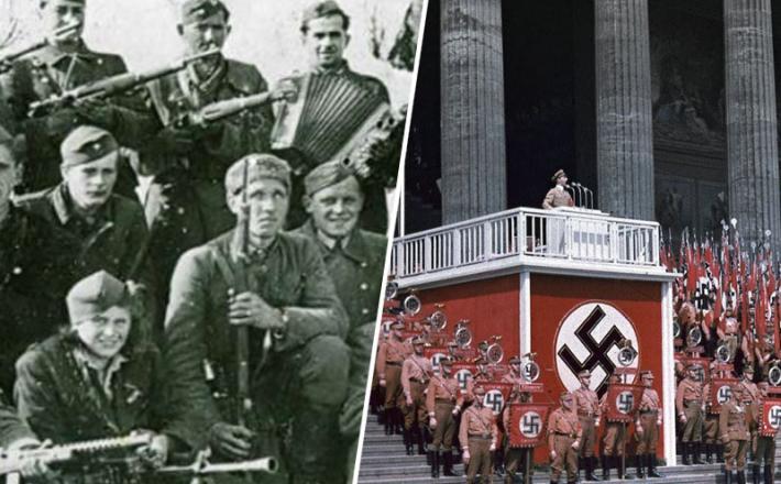 Partizani na Menini planini in Hitler ob govoru