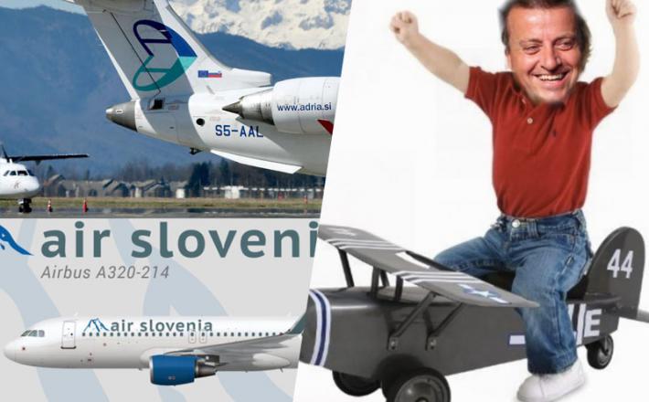 Joc Pečečnik je že od nekdaj sanjal o svoji letalski družbi: fotomontaža Insajder.com