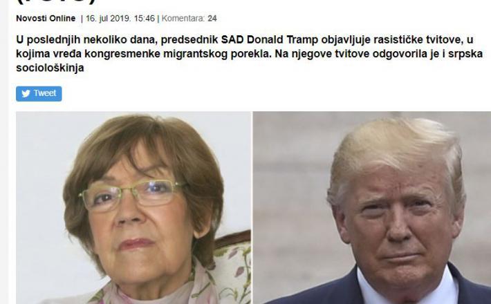 Vesna Pešić in Donald Trump