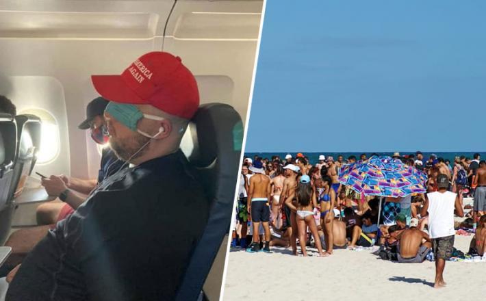 Nošenje maske v ZDA in plaža na Floridi