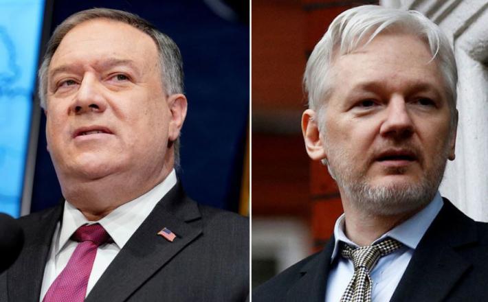 Mike Pompeo in Julian Assange  Vir: Twitter