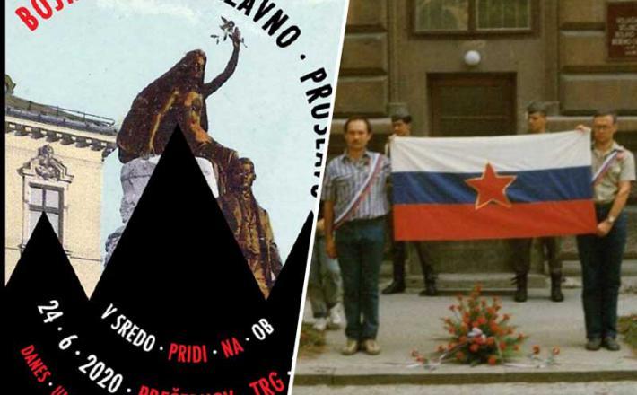 Ob rdeči zvezdi: Božo Predalič in Vinko Gorenak, leta 1988. Vir: Twitter