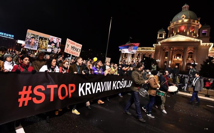Protest v Beogradu    Vir: Pixsell