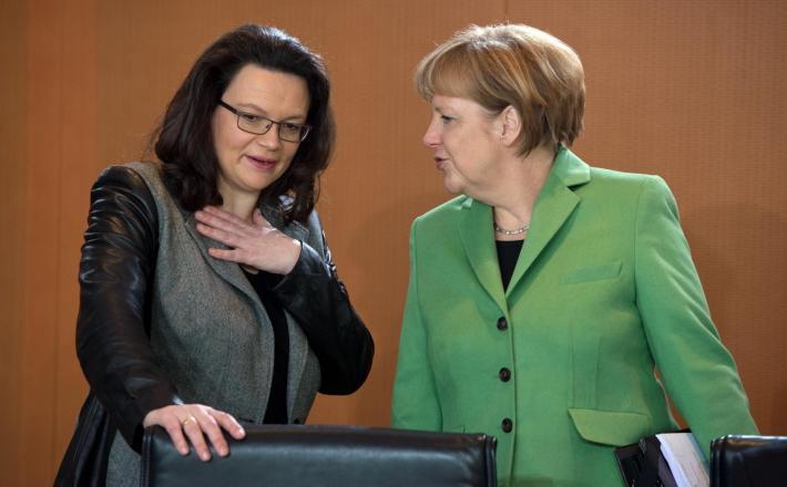 Andrea Nahles in Angela Merkel Vir:Pixell