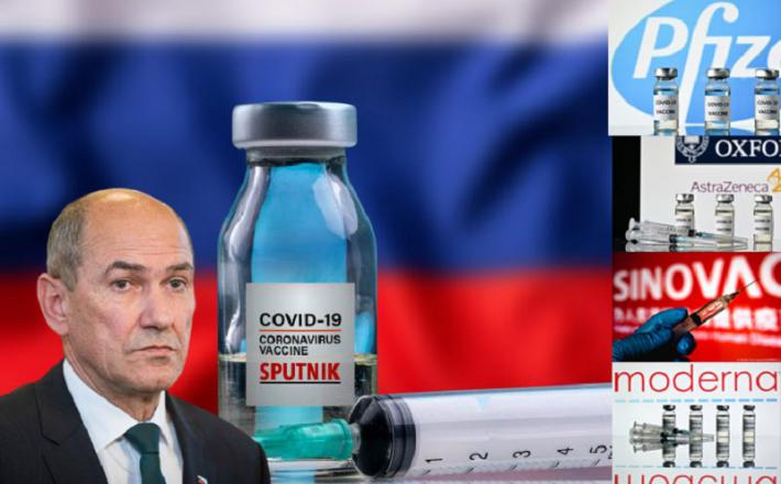 Cepiva na izbiro izven Slovenije in slovenski minister za zdravje Janez Janša. Vir: Twitter