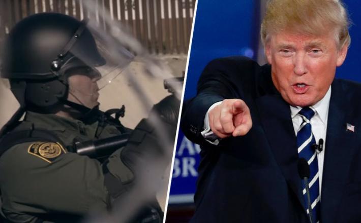 Trump in policisti pred zidom