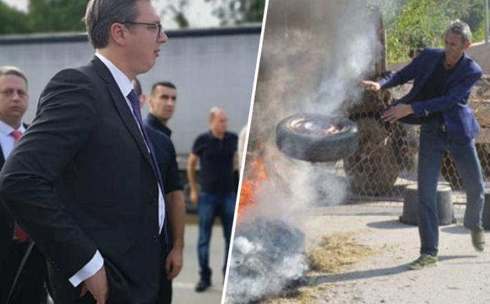 Predsednik Srbije Aleksandar Vučić in kosovski policist