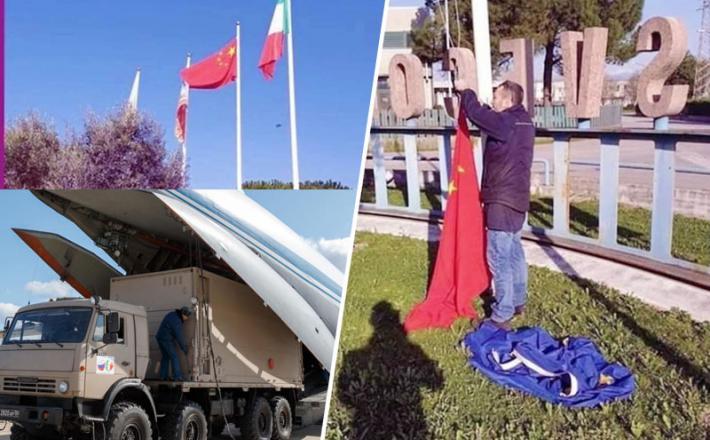 Kitajske zastave namesto evropskih