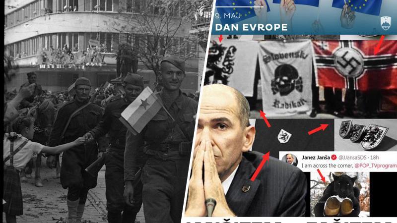 Janša zaničuje partizane, kjer le more, slavi pa simbole skrajnih desničarjev