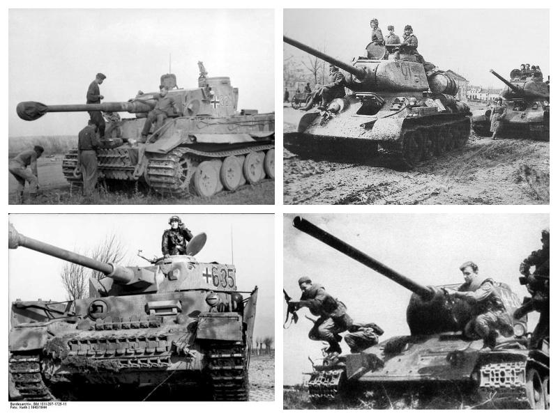 Nemški (levo) in ruski (desno) tanki v drugi svetovni vojni