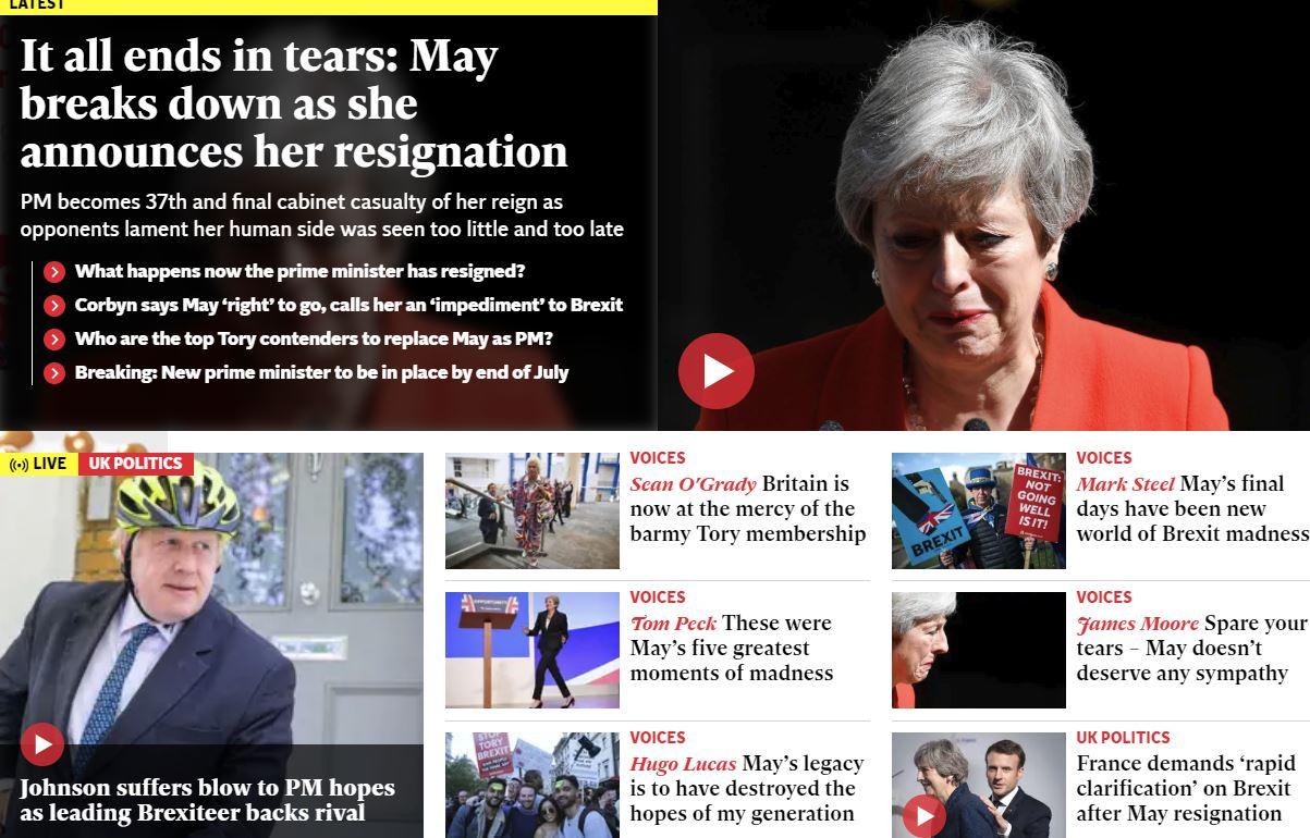 Theresa May odhaja - naslovnica Independenta