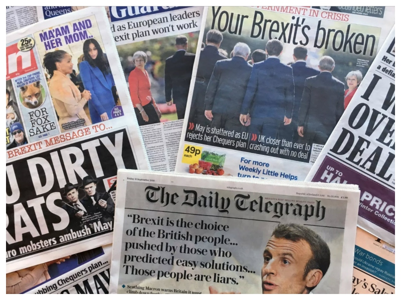 Negativno poročanje britanskega tiska o neuspehu Therese May