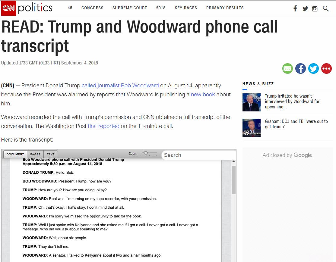 Zapis pogovora Woodward - Trump