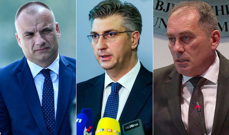 Daniel Markić (šef SOA-e), Andrej Plenković in Dragan Mektić Vir:JR