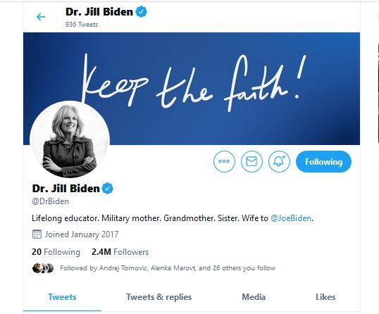 Twitter račun Jill Biden, Lifelong educator. Military mother. Grandmother. Sister. Wife to @JoeBiden