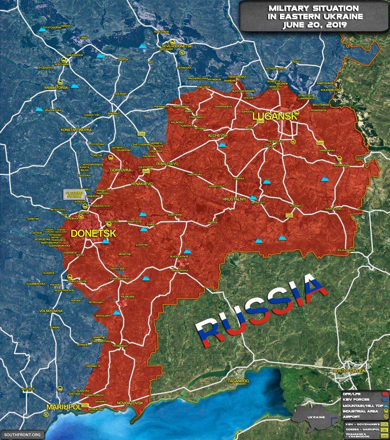 Vojni zemljevid Ukrajine - separatistične republike so rdeče  Vir: South Front 2019