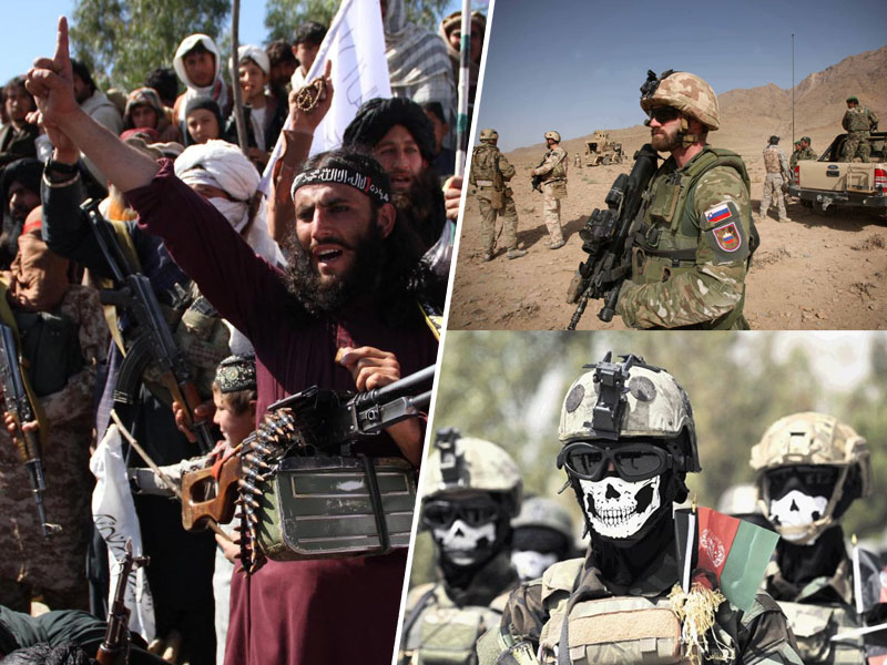 Poraz okupatorjev (desno), zmaga talibanov (levo) v Afganistanu