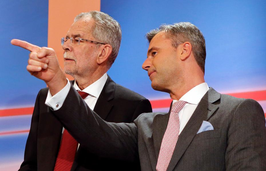 Avstrijski predsednik Van der Bellen (levo) nasprotuje svobodnjaški stranki, ki ji predseduje Norbert Hofer (desno)
