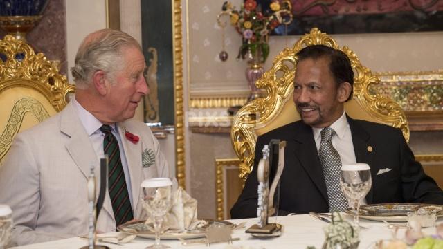 Britanski princ Charles med kramljanjem s sultanom Bruneja ob čaju Vir:Pixsell