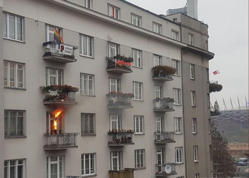 Zažig stanovanja na Poljskem Vir:Twitter