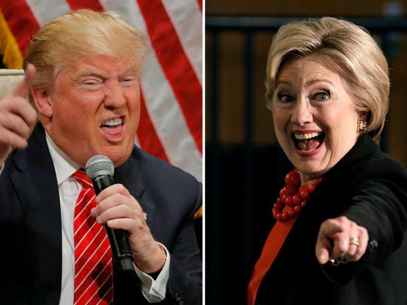 Hillary Clinton in Donald Trump