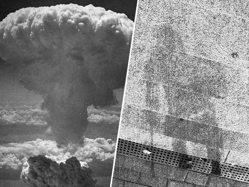 Eksplozija in sence na kamnitih delih Hirošime - danes