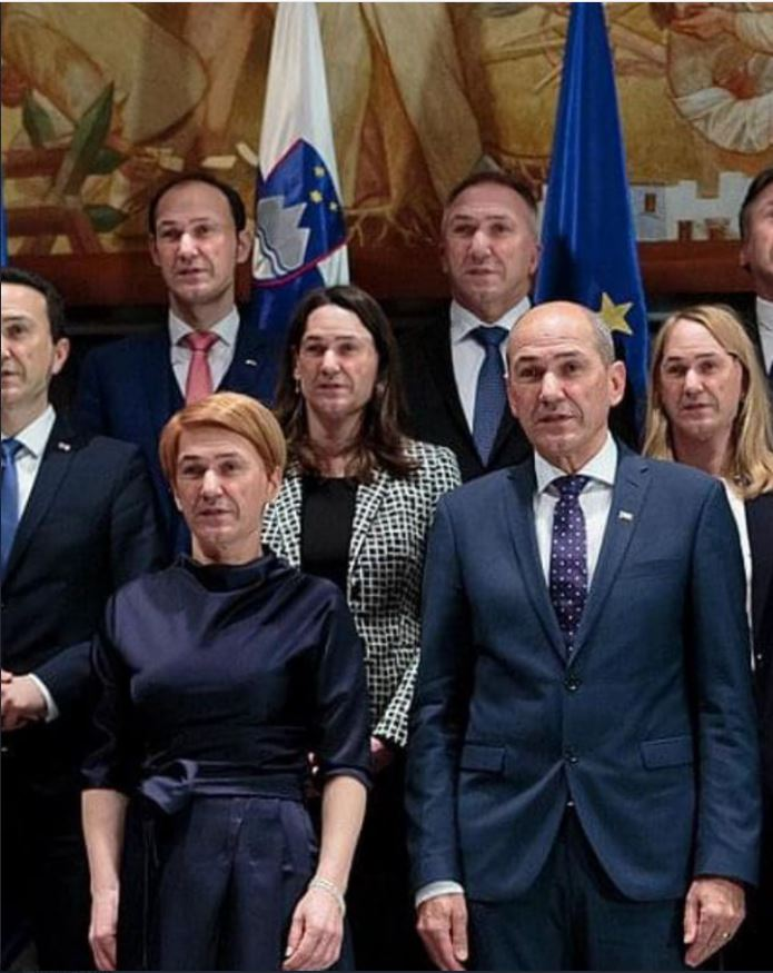 Janez Janša in ministri njegove vlade. Vir: Twitter