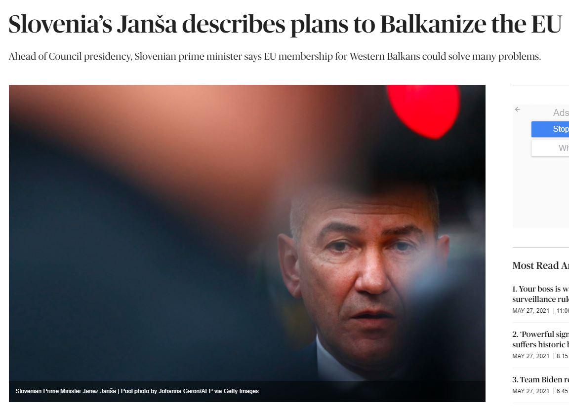 Politico: Janša bo poskrbel za balkanizacijo EU