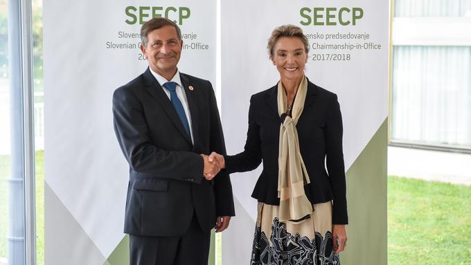 Slovenski zunanji minister Karl Erjavec in hrvaška zunanja ministrica Marija Pejčinović Burić, foto: STA