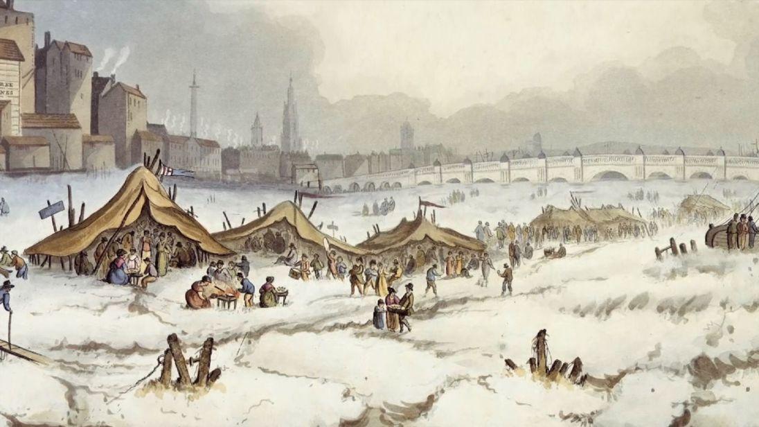 """Slika zamrznjene Temze med zadnjo """"malo ledeno dobo"""" sredi 17. stoletja"""