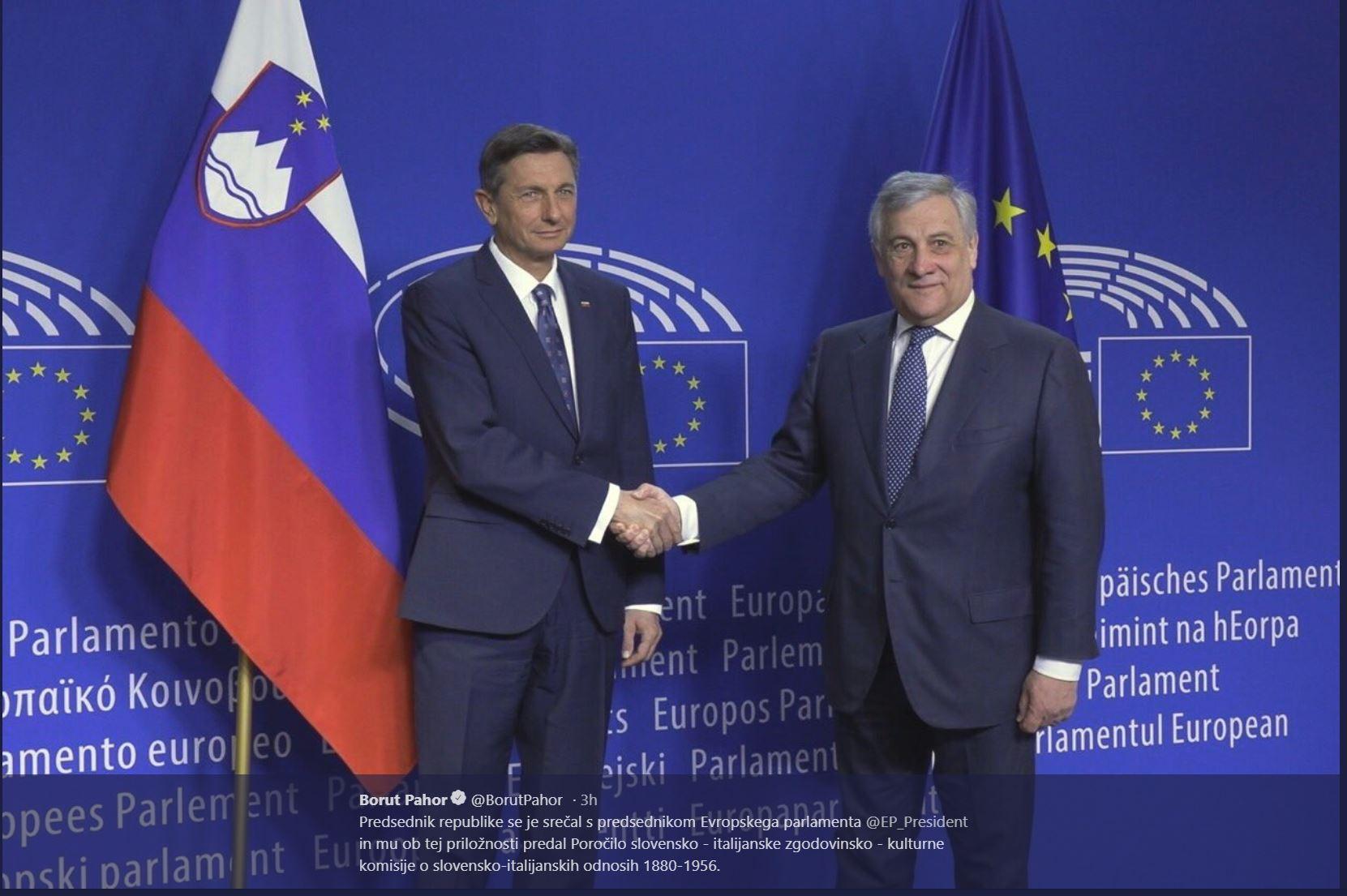 Borut Pahor in Antonio Tajani Vir: Urad PR
