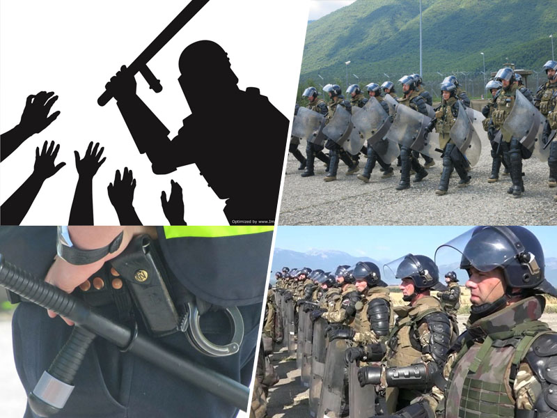 S pendreki nad demonstrante in migrante