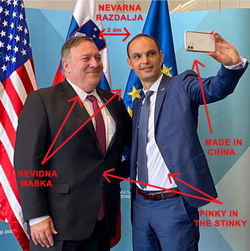 Snidenje: Državni sekretar ZDA Mike Pompeo in gostitelj Anže Logar. Vir: Twitter