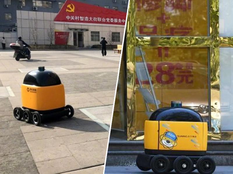 Rumeni robot, dostavljač paketov, Kitajska