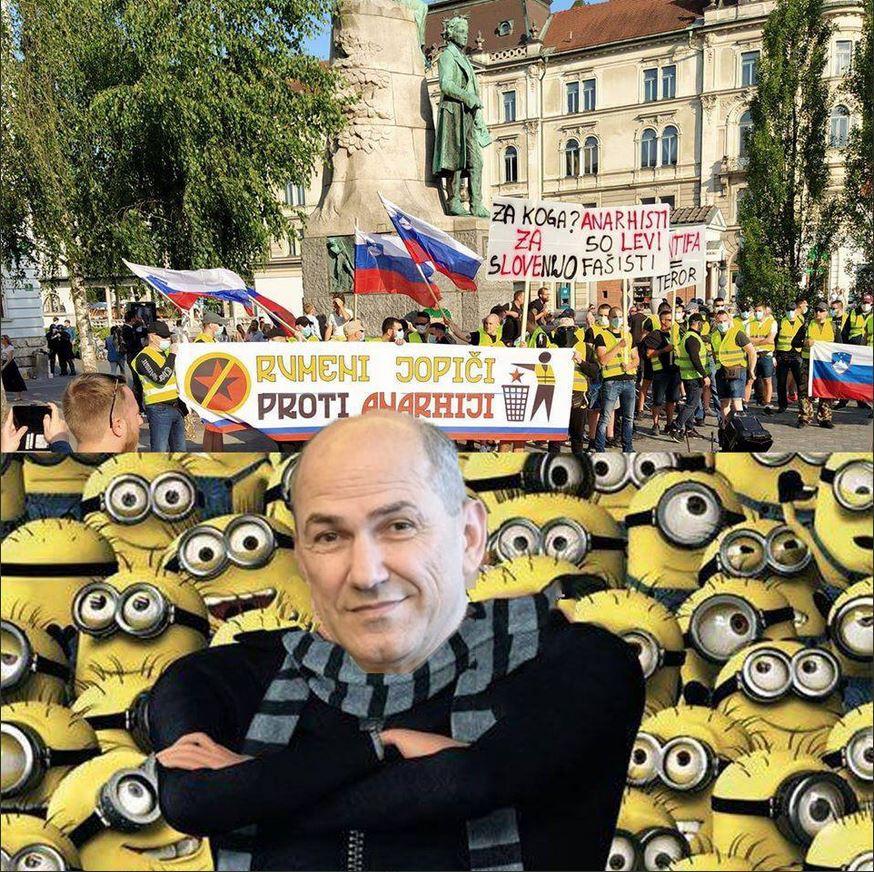 Kako na socialnih omrežjih vidijo šefa rumenih jopičev na Slovenskem. Vir: Twitter