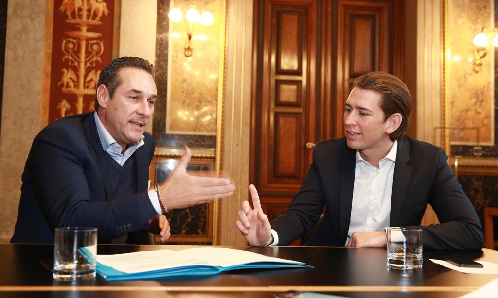 Heinz-Christian Strache FPÖ in Sebastian Kurz ÖVP