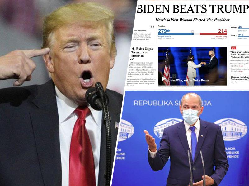 Janša podprl Trumpa, Biden pa zmagal Montaža:Insajder.com