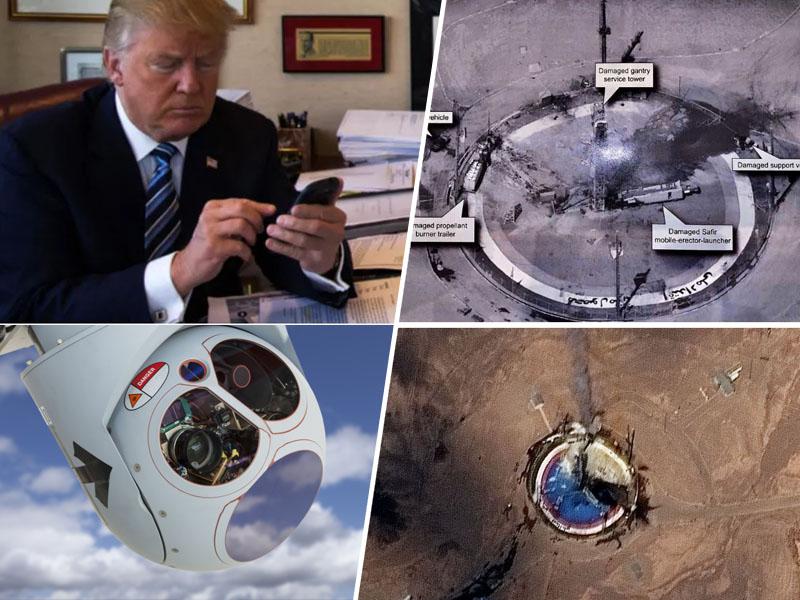 Slika uničene rakete v Iranu - Trump in dron