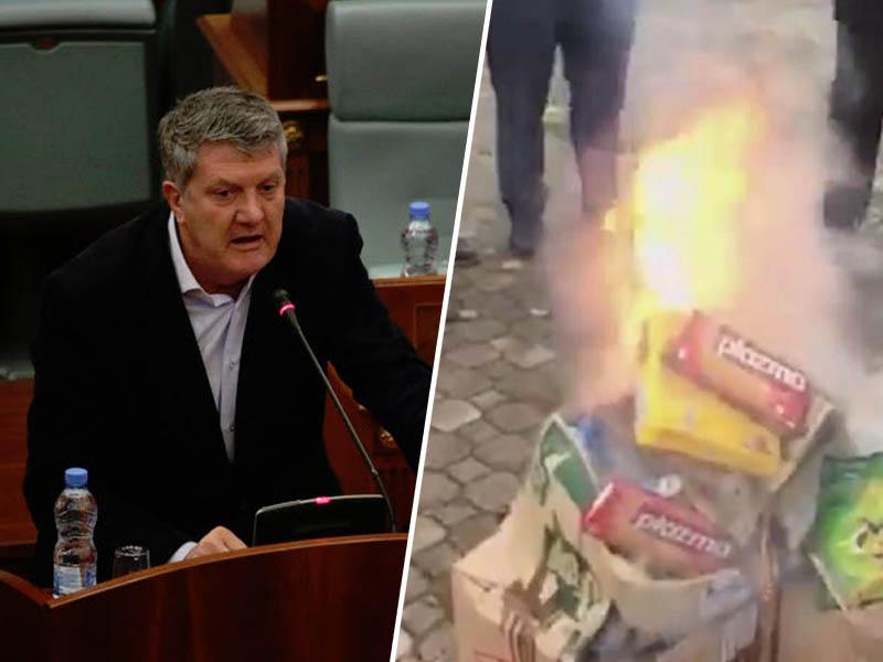 Kosovski poslanec Zeka - zažiganje srbskih proizvodov na Kosovu