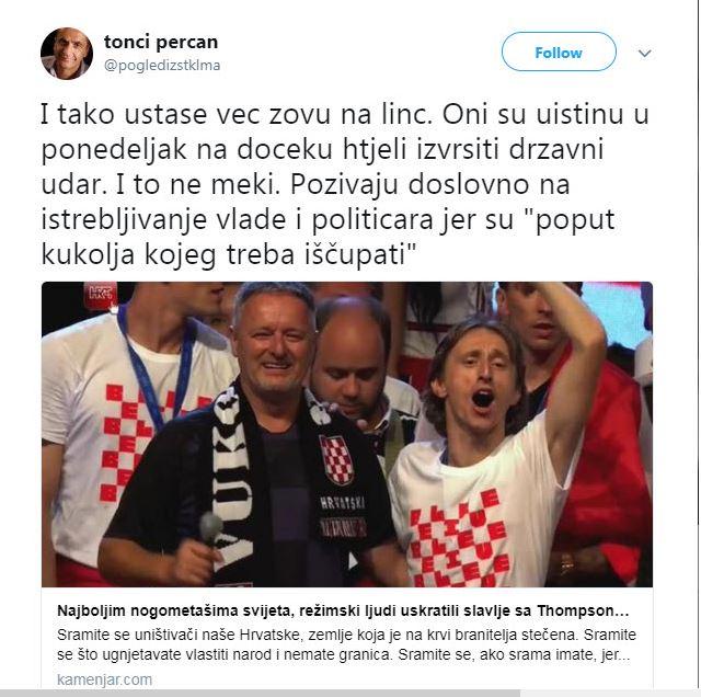 Sprejem hrvaških nogometašev s Thompsonom
