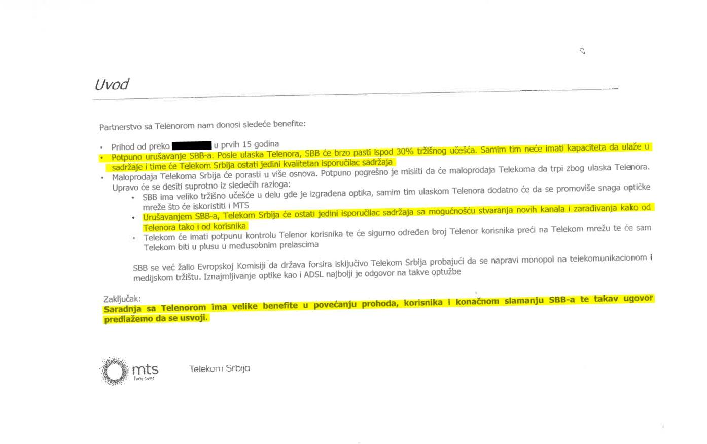 Ključni dokaz - pismo direktorja srbskega Telekoma