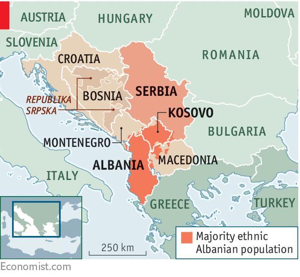 Velika Albanija - večinsko albansko prebivalstvo v sosednjih državah