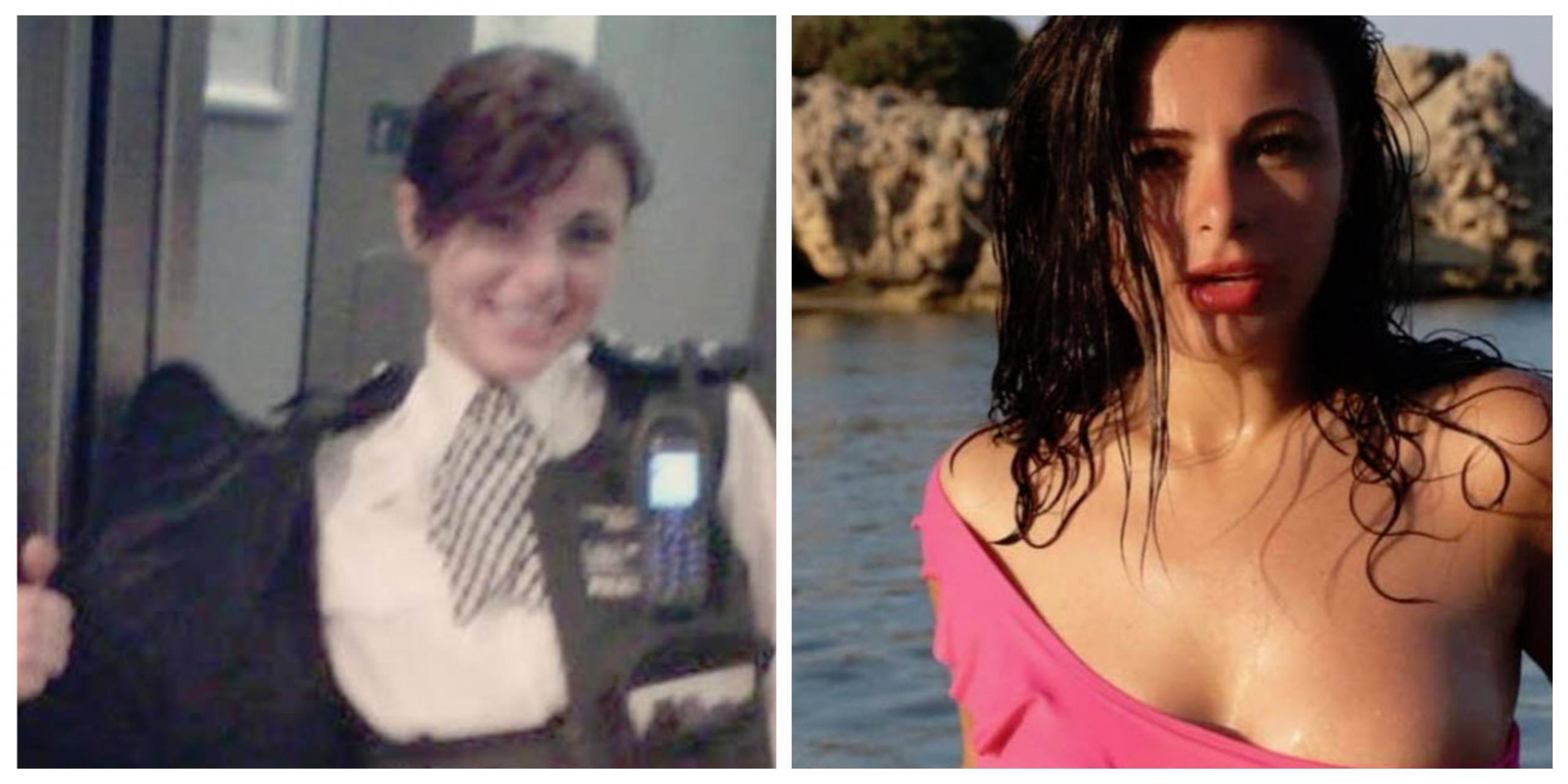 Vesela policistka: v uniformi in ... na morju